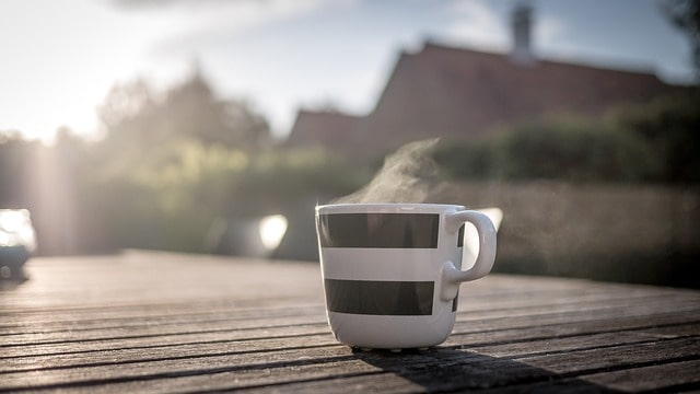 drinking coffee in the morning while working from home